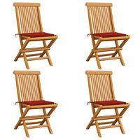 vidaXL Zahradní židle s červenými poduškami 4 ks masivní teak