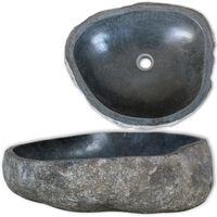vidaXL Umyvadlo z říčního kamene oválné 46–52 cm