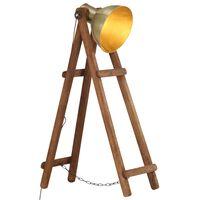vidaXL Stojací lampa mosazná E27 masivní mangovníkové dřevo