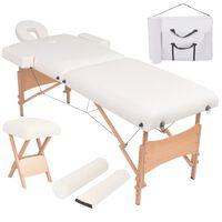 vidaXL 2zónový skládací masážní stůl a stolička tloušťka 10 cm bílé