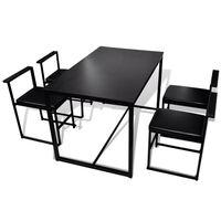 vidaXL 5dílný jídelní set stůl a židle černý