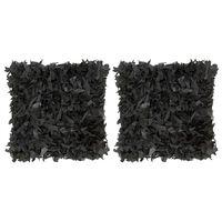 vidaXL Polštáře 2 ks střapaté černé 45 x 45 cm kůže a bavlna
