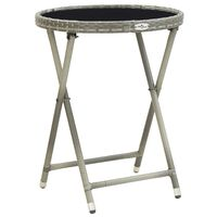 vidaXL Čajový stolek šedý 60 cm polyratan a tvrzené sklo