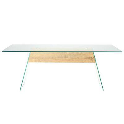 vidaXL Konferenční stolek MDF a sklo 110 x 55 x 40 cm dubový odstín