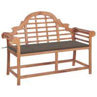 vidaXL Zahradní lavice s taupe poduškou 120 cm masivní teak