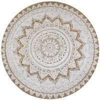 vidaXL Kusový koberec ze splétané juty s potiskem 90 cm kulatý