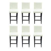 vidaXL Barové židle 6 ks bílé umělá kůže