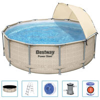 Bestway Power Steel Swimming Pool Set with Canopy 396x107 cm