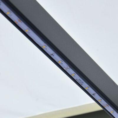 vidaXL Ručně zatahovací markýza s LED světlem 300 x 250 cm krémová