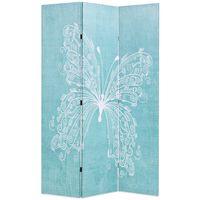 vidaXL Skládací paraván 120 x 170 cm motýl modrý