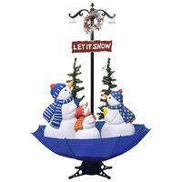 vidaXL Sněžící vánoční stromek s deštníkovým stojanem modrý 170 cm PVC