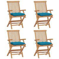 vidaXL Zahradní židle se světle modrými poduškami 4 ks masivní teak
