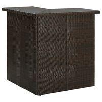 vidaXL Rohový barový stolek hnědý 100 x 50 x 105 cm polyratan