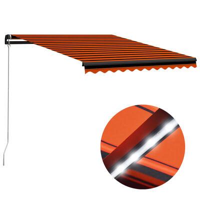 vidaXL Ručně zatahovací markýza s LED světlem 350x250cm oranžovo-hnědá