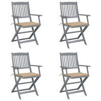 vidaXL Skládací zahradní židle s poduškami 4 ks masivní akácie