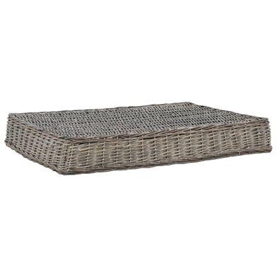 vidaXL Pelíšek pro psy s poduškou šedý 110x75x15 cm vrba plochý design, Šedá