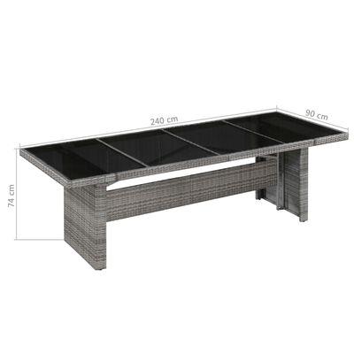vidaXL Zahradní stůl 240 x 90 x 74 cm polyratan a sklo