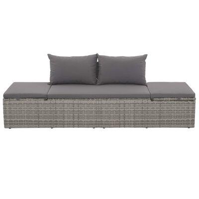 vidaXL Zahradní postel šedá 195 x 60 cm polyratan