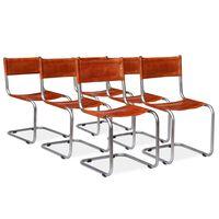 vidaXL Jídelní židle 6 ks hnědé pravá kůže