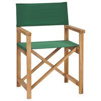 vidaXL Skládací režisérská židle masivní teakové dřevo zelené