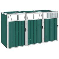 vidaXL Trojitý přístřešek na popelnice zelený 213 x 81 x 121 cm ocel