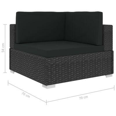 vidaXL 4dílná zahradní sedací souprava s poduškami polyratan černá