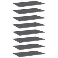 vidaXL Přídavné police 8 ks šedé vysoký lesk 80x50x1,5 cm dřevotříska