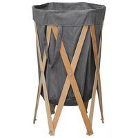 vidaXL Skládací koš na prádlo šedý dřevo a textil