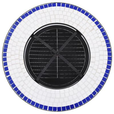 vidaXL Mozaikový stolek s ohništěm modrobílý 68 cm keramika