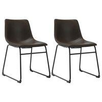 vidaXL Jídelní židle 2 ks tmavě hnědé umělá kůže