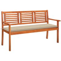 vidaXL 3-Seater Garden Bench with Cushion 150 cm Solid Eucalyptus Wood (315269+47627)