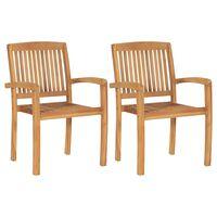 vidaXL Stohovatelné zahradní jídelní židle 2 ks masivní teakové dřevo