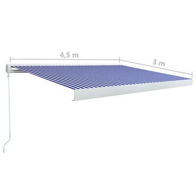 vidaXL Kazetová markýza s ručním ovládáním 450 x 300 cm modro-bílá