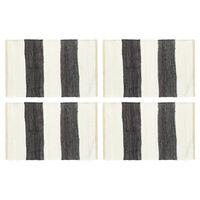vidaXL Prostírání 4 ks chindi proužky antracitové a bílé 30 x 45 cm