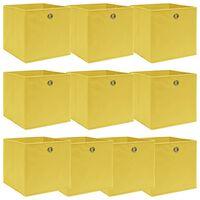 vidaXL Úložné boxy 10 ks žluté 32 x 32 x 32 cm textil