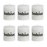 Bolsius rustikální válcové svíčky 80 x 68 mm, bílé, 6 ks