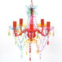 VÍCEBAREVNÝ klasický křišťálový lustr na 5 žárovek
