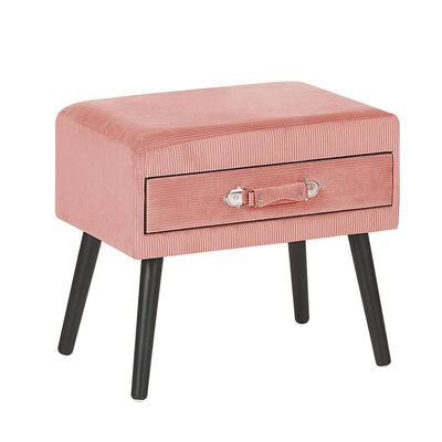 Růžový manšestrový noční stolek EUROSTAR