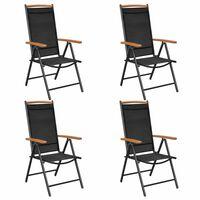 vidaXL Skládací zahradní židle 4 ks hliník a textilen černé