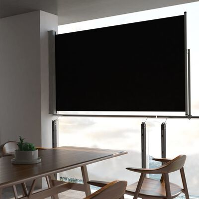 vidaXL Terasová zatahovací boční markýza 140 x 300 cm černá