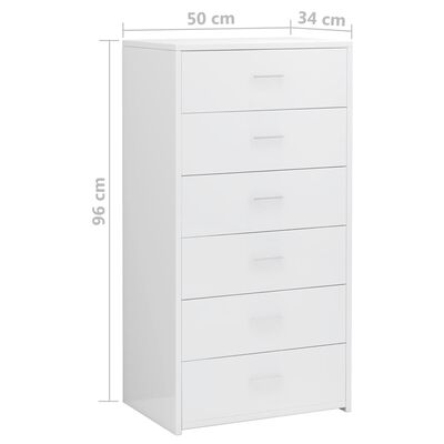 vidaXL Příborník se 6 zásuvkami bílý s leskem 50x34x96 cm dřevotříska