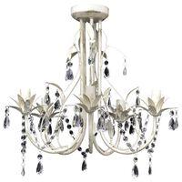 Elegantní, křišťálový lustr bílý na pět žárovek