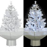 vidaXL Sněžící vánoční stromeček s deštníkovým stojanem bílý 75 cm