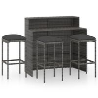 vidaXL 4dílný zahradní barový set s poduškami šedý