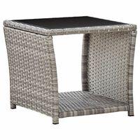vidaXL Konferenční stolek šedý 45 x 45 x 40 cm polyratan a sklo