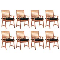 vidaXL Zahradní jídelní židle 8 ks s poduškami masivní akáciové dřevo