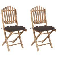 vidaXL Skládací zahradní židle s poduškami 2 ks bambus