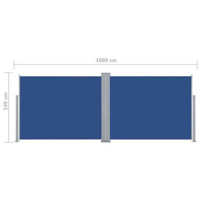 vidaXL Zatahovací boční markýza / zástěna modrá 140 x 1000 cm
