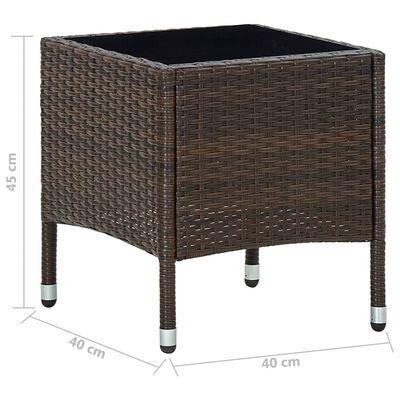 vidaXL Zahradní stůl hnědý 40 x 40 x 45 cm polyratan, Hnědá