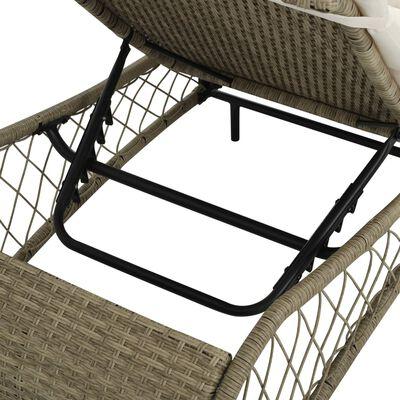 vidaXL Zahradní lehátko s poduškou polyratan šedé